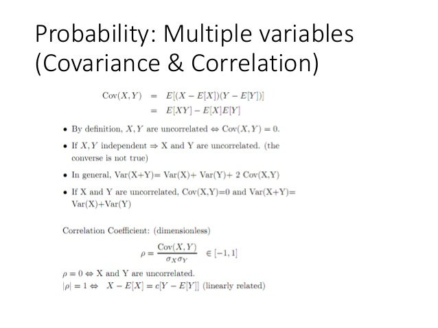 Probability: Multiple variables (Covariance & Correlation)