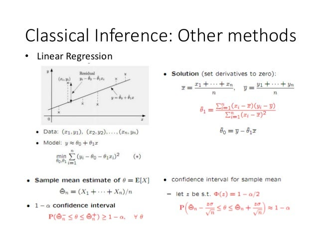 Classical Inference: Other methods • Linear Regression