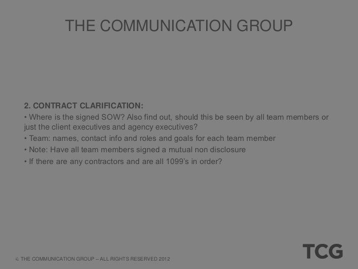 THE COMMUNICATION GROUP 3. ONLINE CLARIFICATION AND ORGANIZATION: • Create another document called: Internal Data for ABC ...