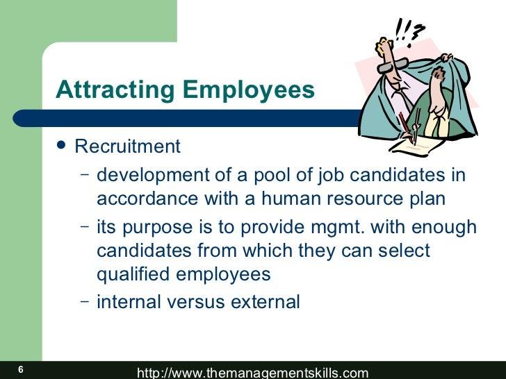 Attracting Employees <ul><li>Recruitment </li></ul><ul><ul><li>development of a pool of job candidates in accordance with ...