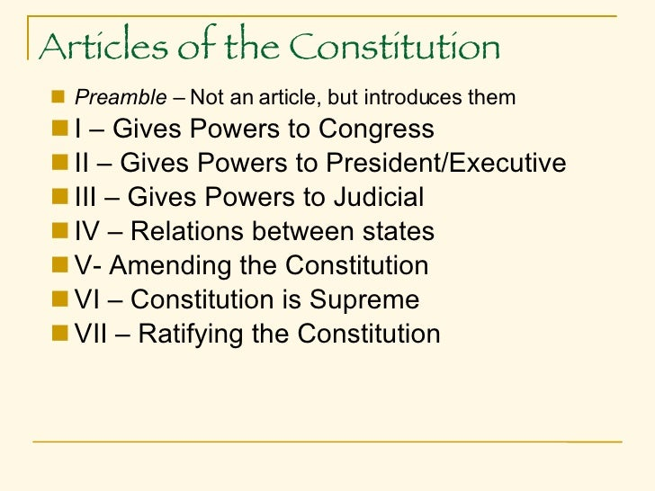 articles 1 for any constitution