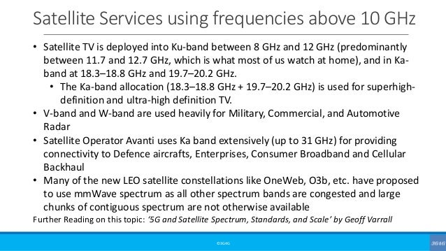 Satellite Services using frequencies above 10 GHz ©3G4G • Satellite TV is deployed into Ku-band between 8 GHz and 12 GHz (...