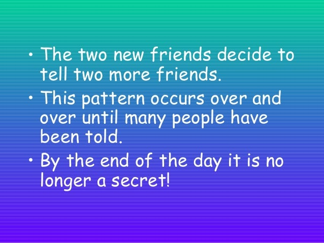 Here is how a secret can spread Round 1  Round 2  Look how many people now know the secret! 3 x 3 = 9  9 people know! I ha...