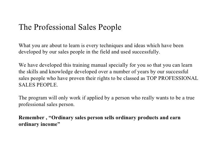 retail sales training manual pdf