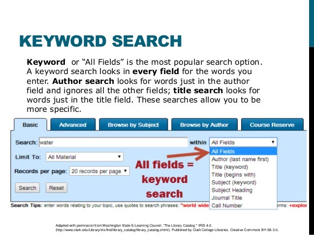 Search Basics and the Library Catalog – College Search Worksheet