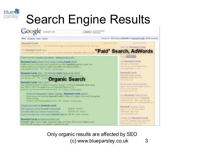 (c) www.blueparsley.co.uk 3 Search Engine Results Only organic results are affected by SEO