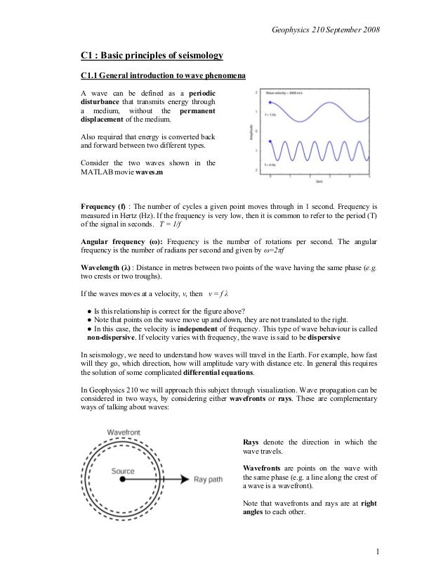 Geophysics 210 September 2008  C1 : Basic principles of seismology C1.1 General introduction to wave phenomena A wave can ...