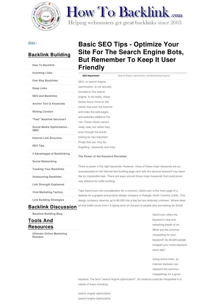 Share |                                    Basic SEO Tips - Optimize Your Backlink Building                  Site For The ...