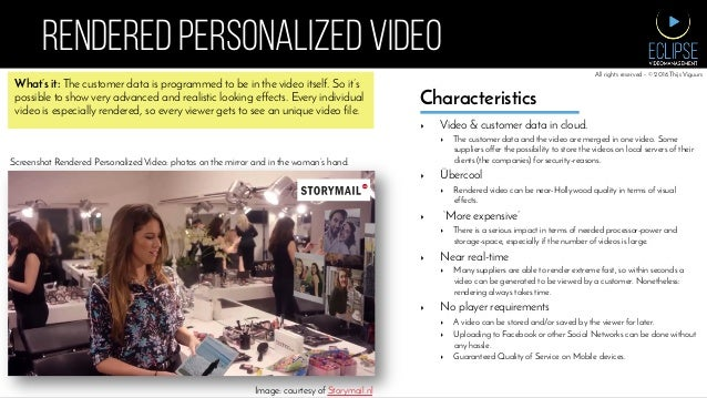 RENDERED PERSONALIZED VIDEO What's it: The customer data is programmed to be in the video itself. So it's possible to show...