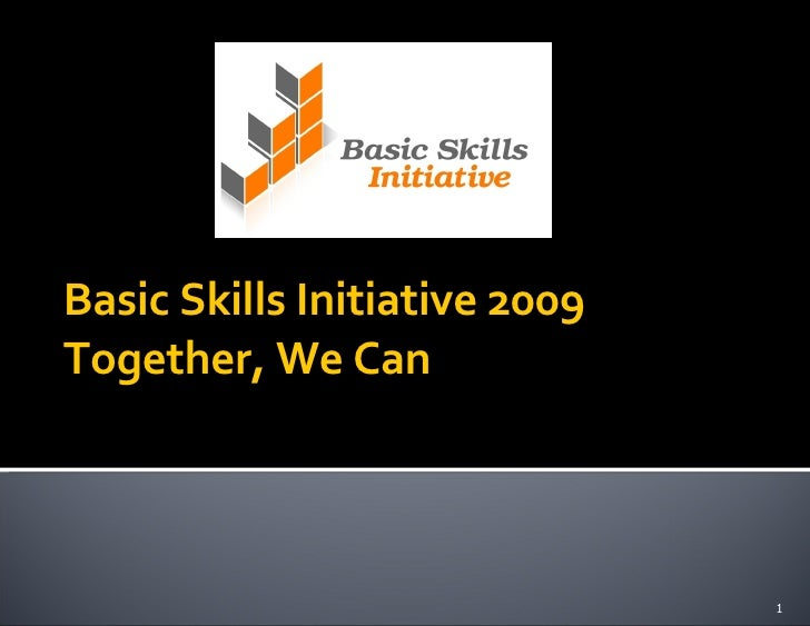Basic Skills Initiative 2009 Together, We Can