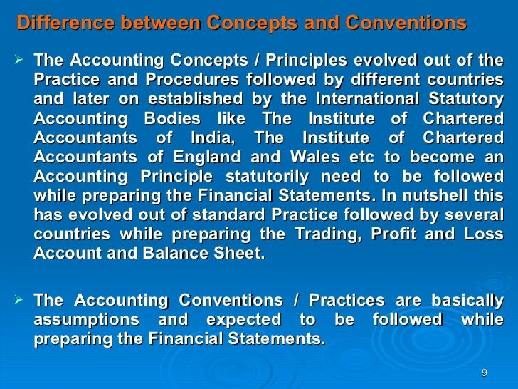 accounting concepts and conventions Definition of accounting concepts: rules of accounting that should be followed in preparation of all accounts and financial also called accounting conventions.