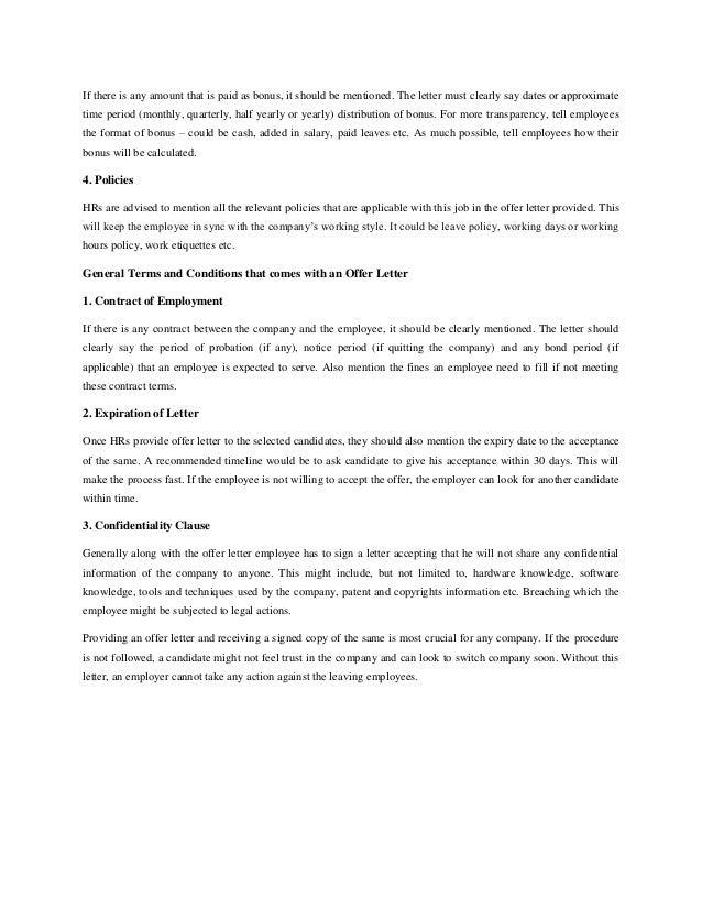 Basics of an offer letter
