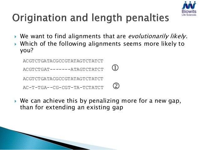    Match/mismatch score:       +1/+0   Origination/length penalty:  –2/–1    ACGTCTGATACGCCGTATAGTCTATCT         ||||| |...