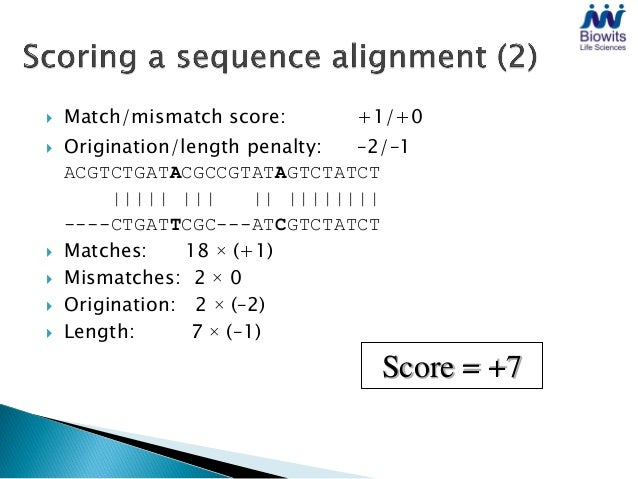    Alignment scoring and substitution matrices   Aligning two sequences    ◦ Dotplots    ◦ The dynamic programming algor...