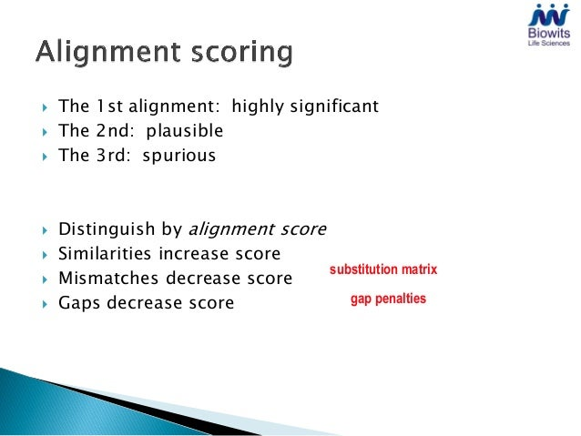    Substitution matrix weights replacement of one residue    by another:    ◦ Similar -> high score (positive)    ◦ Diffe...