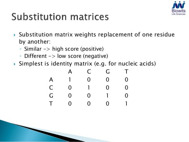    PAM matrix series (PAM1 ... PAM250):    ◦ Derived from alignment of very similar sequences    ◦ PAM1 = mutation events...