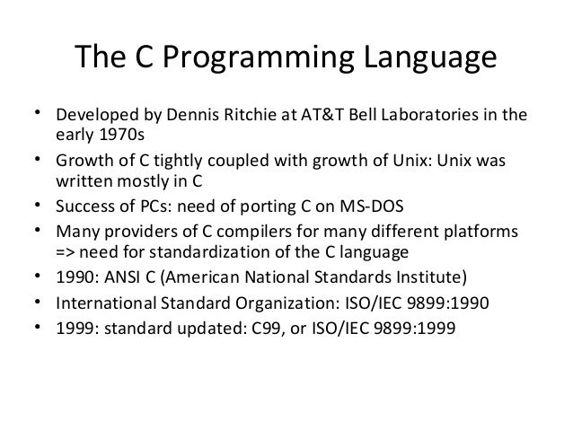 An analysis of the programming language developed by dennis ritchie