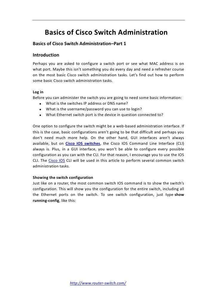 Basics of cisco switch administration