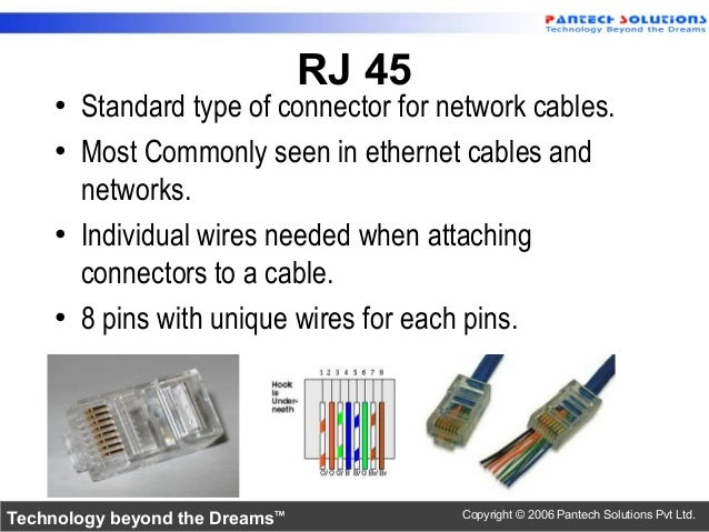 RJ 45 19 O Standard Type Of Connector For Network Cables