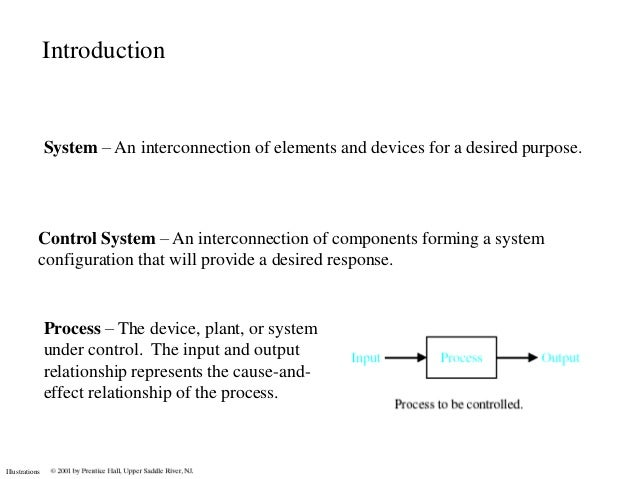 Introduction                System – An interconnection of elements and devices for a desired purpose.            Control ...