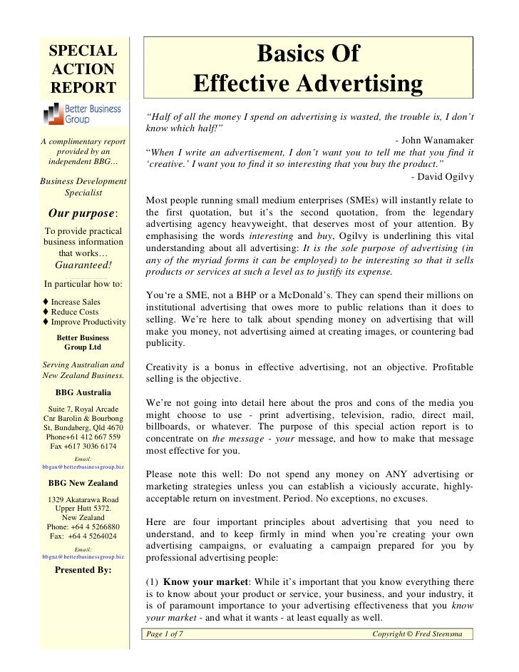 SPECIAL                                           Basics Of  ACTION  REPORT                                      Effective...