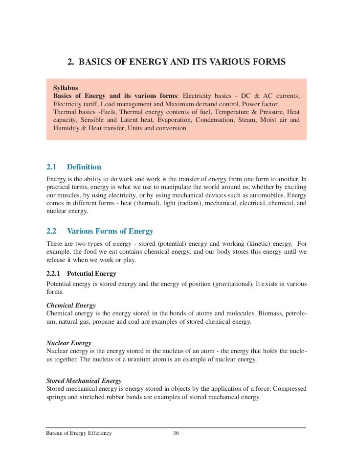 2. BASICS OF ENERGY AND ITS VARIOUS FORMS   Syllabus   Basics of Energy and its various forms: Electricity basics - DC & A...