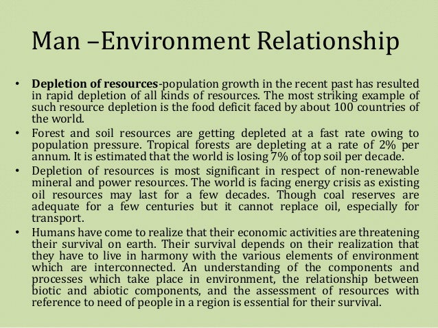Man and environment relationship essay