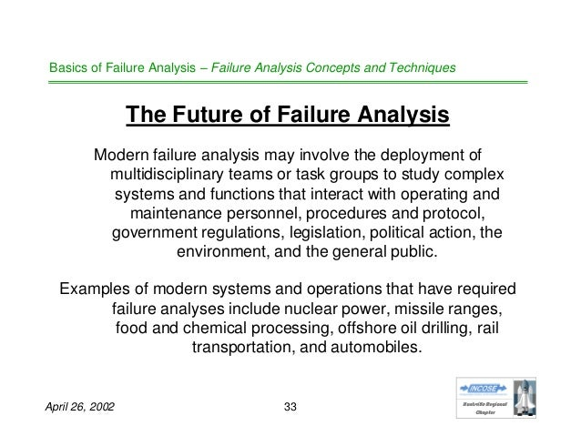 an analysis of failure It hardly needs to be said that organizations cannot learn from failures if people do not discuss and analyze them yet this remains an important insight the learning that is potentially available may not be realized unless thoughtful analysis and discussion of failure occurs for example, for.