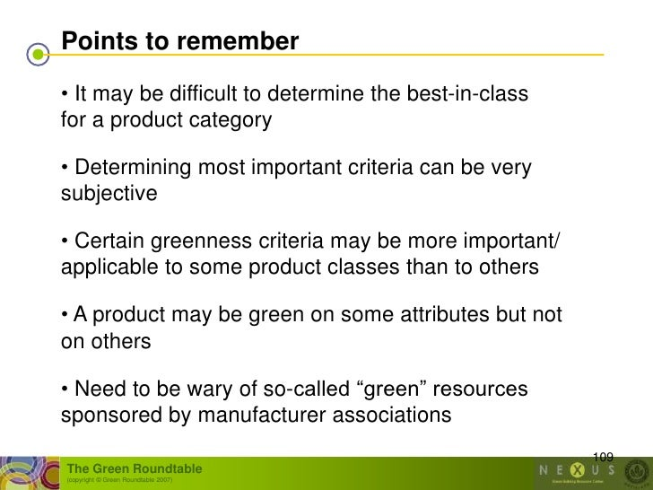 Points to remember  • It may be difficult to determine the best-in-class for a product category  • Determining most import...