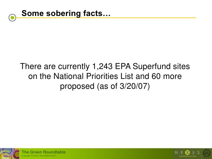 Some sobering facts…     There are currently 1,243 EPA Superfund sites   on the National Priorities List and 60 more      ...