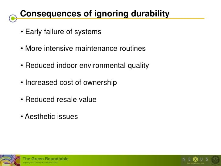 Consequences of ignoring durability  • Early failure of systems  • More intensive maintenance routines  • Reduced indoor e...