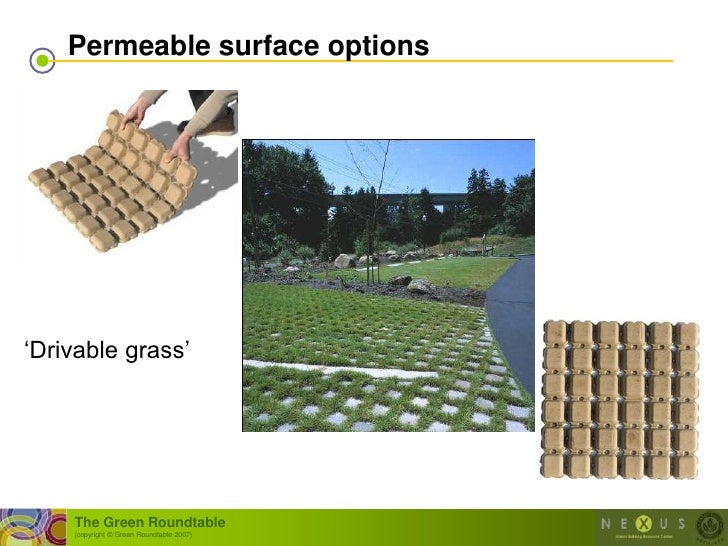 """Permeable surface options     """"Drivable grass""""         The Green Roundtable     (copyright © Green Roundtable 2007)"""