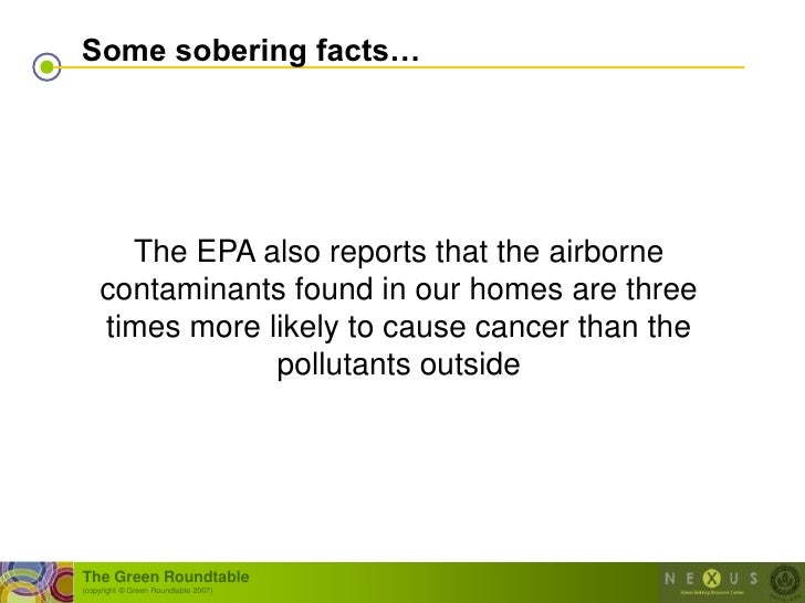 Some sobering facts…           The EPA also reports that the airborne     contaminants found in our homes are three     ti...