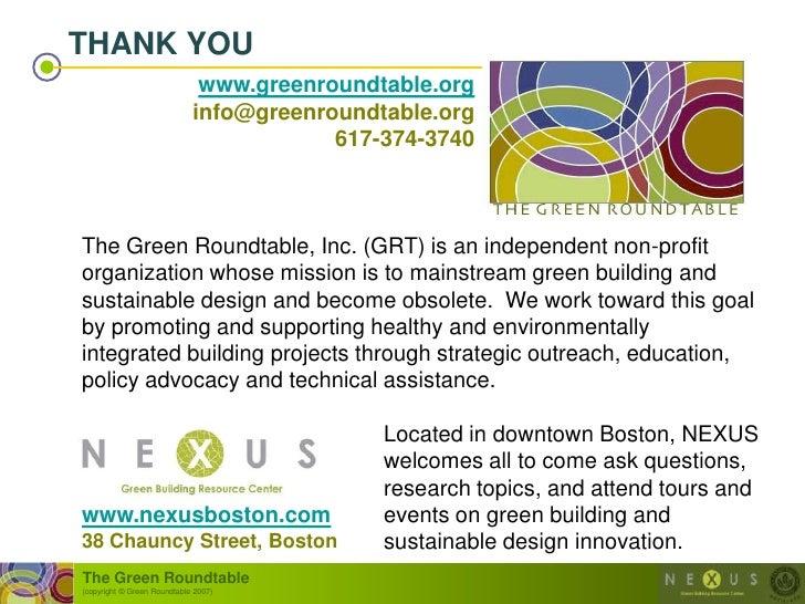 THANK YOU                               www.greenroundtable.org                              info@greenroundtable.org     ...