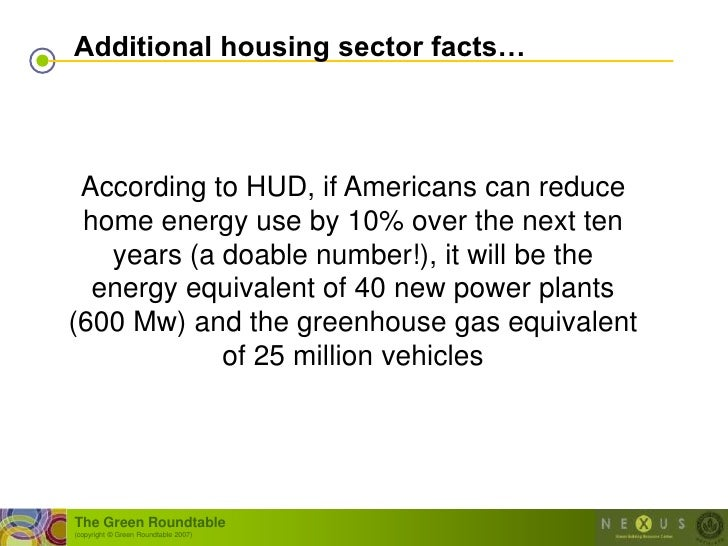 Additional housing sector facts…     According to HUD, if Americans can reduce  home energy use by 10% over the next ten  ...
