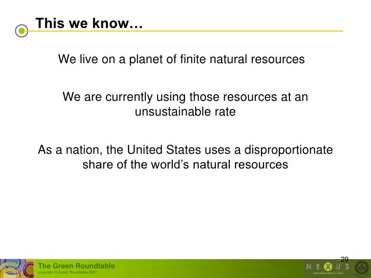 This we know…             We live on a planet of finite natural resources                 We are currently using those res...