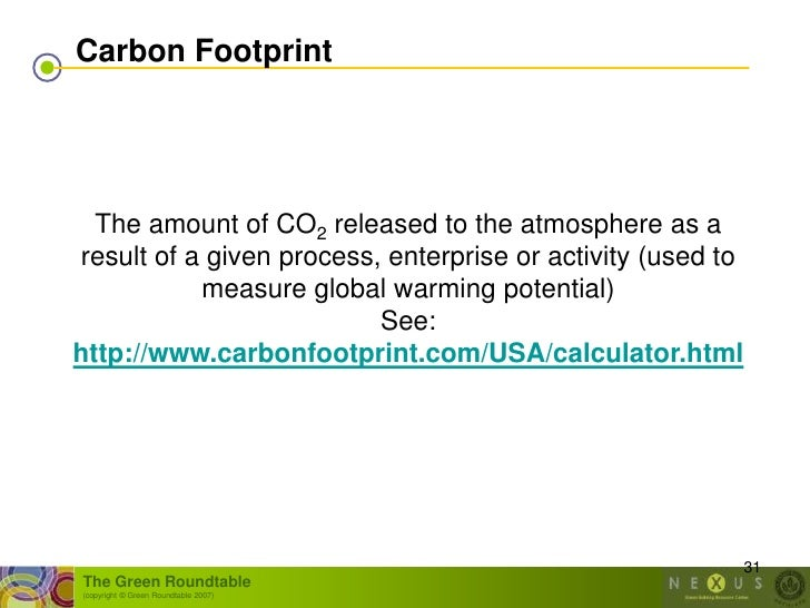 Carbon Footprint       The amount of CO2 released to the atmosphere as a result of a given process, enterprise or activity...