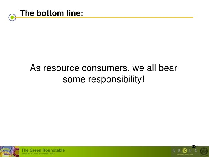 The bottom line:             As resource consumers, we all bear                some responsibility!                       ...