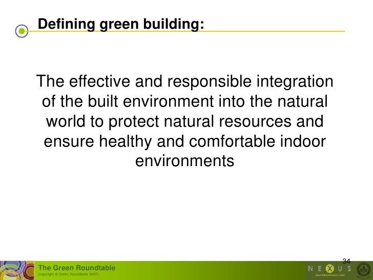 Defining green building:   The effective and responsible integration  of the built environment into the natural  world to ...