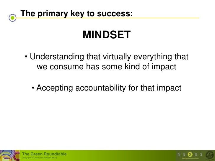 The primary key to success:                                        MINDSET   • Understanding that virtually everything tha...