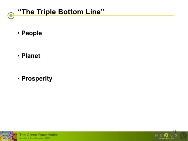 """""""The Triple Bottom Line""""  • People   • Planet   • Prosperity                                           43 The Green Roundt..."""