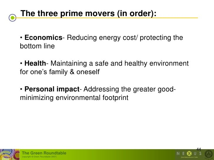 The three prime movers (in order):  • Economics- Reducing energy cost/ protecting the bottom line  • Health- Maintaining a...