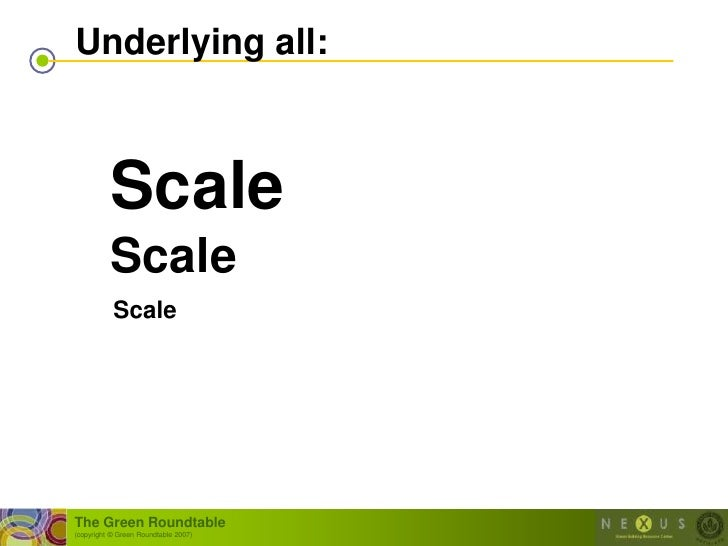 Underlying all:              Scale           Scale            Scale     The Green Roundtable (copyright © Green Roundtable...