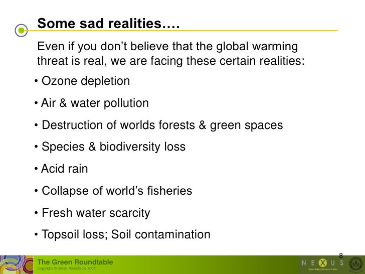 """Some sad realities…. Even if you don""""t believe that the global warming threat is real, we are facing these certain realiti..."""