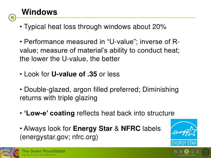 """Windows • Typical heat loss through windows about 20%  • Performance measured in """"U-value""""; inverse of R- value; measure o..."""