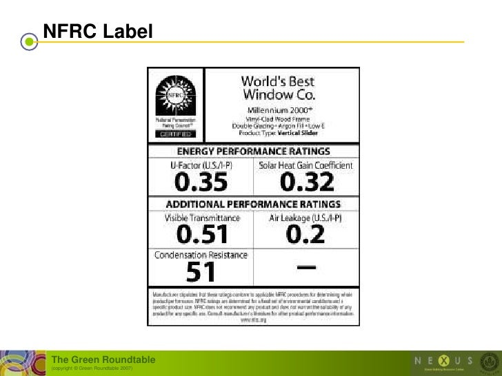 NFRC Label     The Green Roundtable (copyright © Green Roundtable 2007)