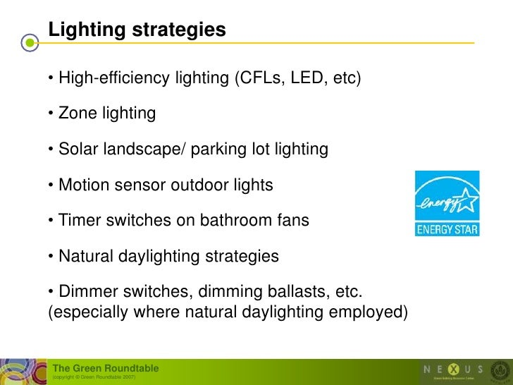 Lighting strategies  • High-efficiency lighting (CFLs, LED, etc)  • Zone lighting  • Solar landscape/ parking lot lighting...