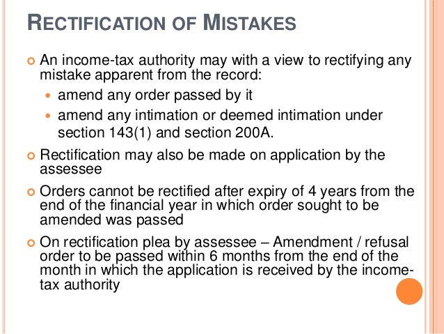 Basics of income tax assessments and appeals rectification of mistakes an income tax spiritdancerdesigns Images