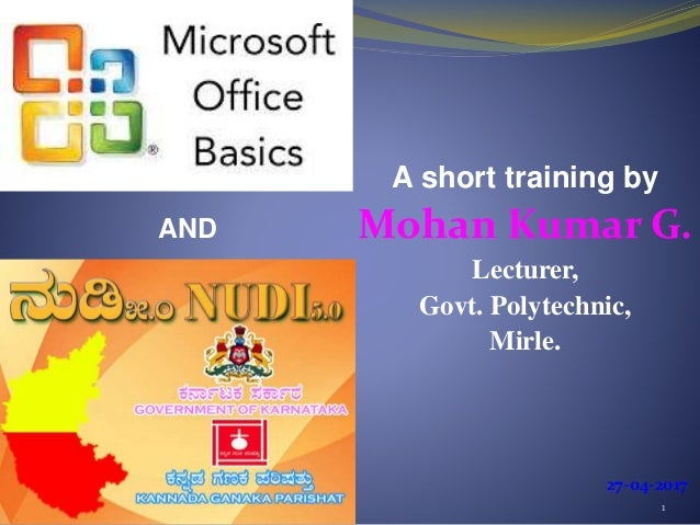 Basics-of-microsoft-office-and-nudi-presentation-at-ATI-Mysore-by-Moh…