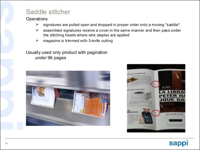 """Saddle stitcher     Operations            signatures are pulled open and dropped in proper order onto a moving """"saddle"""". ..."""